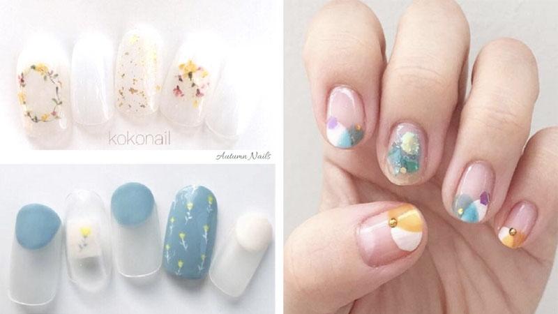 淡淡的清涼感~10款初秋清新指甲,換上冷調甲色也不能失去可愛感啊!