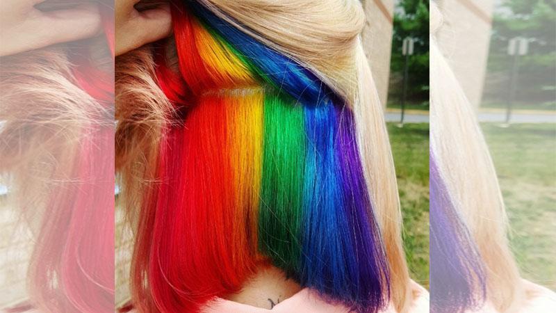 低調的華麗《隱藏式彩虹染髮》,色彩豐富又不會太高調!