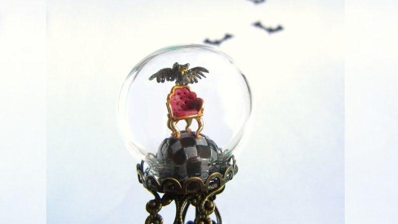 令人驚豔的小世界《童話風水晶球戒指》雲朵飄浮在空中超可愛的♥