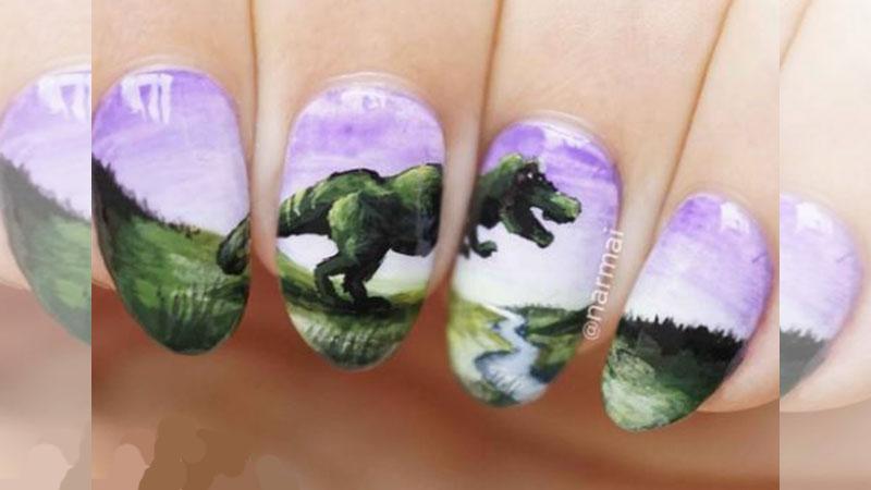 比恐龍刺青更可愛的「恐龍指彩」絕對讓女孩直接預約美甲師!